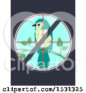Clipart Of A Prohibited Symbol Over Target On A Bird Royalty Free Vector Illustration by BNP Design Studio