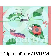 Poster, Art Print Of Grasshopper Ladybug And Caterpillar Using Gadgets