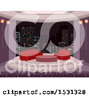 Clipart Of A Talk Show Studio Royalty Free Vector Illustration