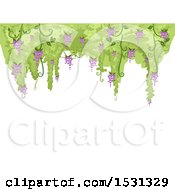 Clipart Of A Background With A Border Of Flowering Wisteria Royalty Free Vector Illustration
