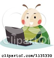 Happy Bug Using A Laptop Computer