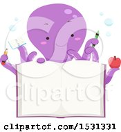 Clipart Of A Purple Octopus Holding School Items Over An Open Book Royalty Free Vector Illustration
