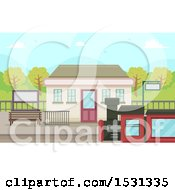 Clipart Of A Train Station Royalty Free Vector Illustration