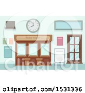 Clipart Of A Ticket Office At A Train Station Royalty Free Vector Illustration