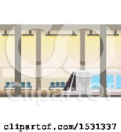 Clipart Of A Subway Train At A Station Royalty Free Vector Illustration