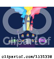 Clipart Of A Factory With Crayon Smoke Stacks Royalty Free Vector Illustration