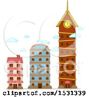 Clipart Of Degrees Of Comparison Shown With Buildings Royalty Free Vector Illustration