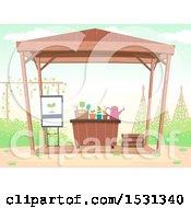 Clipart Of A Garden Work Shop Royalty Free Vector Illustration