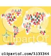 Poster, Art Print Of World Map With People Icons