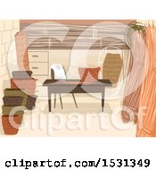 Clipart Of A Basket Weaving Shop Interior Royalty Free Vector Illustration