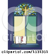 Clipart Of A Stained Glass Window With An Open Bible And Rosary Royalty Free Vector Illustration