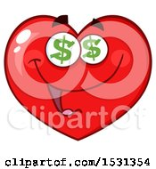 Clipart Of A Greedy Red Love Heart Character With Dollar Eyes Royalty Free Vector Illustration by Hit Toon