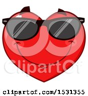 Clipart Of A Red Love Heart Character Wearing Sunglasses Royalty Free Vector Illustration by Hit Toon
