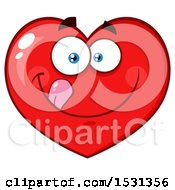 Clipart Of A Red Love Heart Character Licking His Lips Royalty Free Vector Illustration