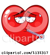 Clipart Of A Sick Red Love Heart Character Royalty Free Vector Illustration