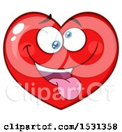 Clipart Of A Silly Red Love Heart Character Royalty Free Vector Illustration by Hit Toon
