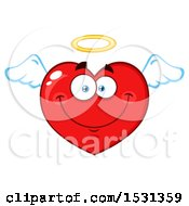 Clipart Of A Red Love Heart Character Angel Royalty Free Vector Illustration