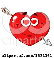 Clipart Of A Red Love Heart Character Struck With Cupids Arrow Royalty Free Vector Illustration