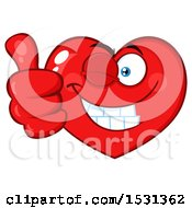 Poster, Art Print Of Red Love Heart Character Winking And Giving A Thumb Up