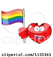 Clipart Of A Red Love Heart Character Holding A Rainbow Flag Royalty Free Vector Illustration