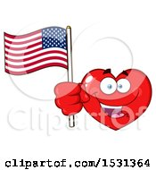 Poster, Art Print Of Red Love Heart Character Holding An American Flag