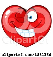 Clipart Of A Red Love Heart Character Winking Royalty Free Vector Illustration