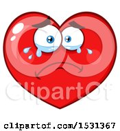Poster, Art Print Of Red Love Heart Character Crying