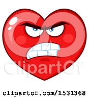 Clipart Of A Mad Red Love Heart Character Royalty Free Vector Illustration by Hit Toon