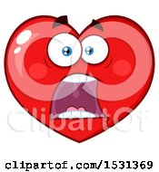 Clipart Of A Screaming Red Love Heart Character Royalty Free Vector Illustration