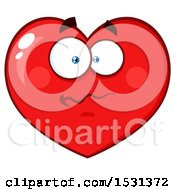 Clipart Of A Confused Red Love Heart Character Royalty Free Vector Illustration