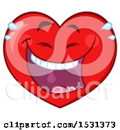 Clipart Of A Laughing Red Love Heart Character Royalty Free Vector Illustration by Hit Toon