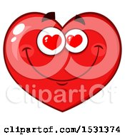 Clipart Of A Red Love Heart Character With Heart Eyes Royalty Free Vector Illustration by Hit Toon