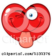 Clipart Of A Red Love Heart Character Sticking His Tongue Out Royalty Free Vector Illustration by Hit Toon