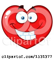 Clipart Of A Grinning Red Love Heart Character Royalty Free Vector Illustration by Hit Toon