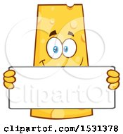Clipart Of A Cheese Character Mascot Holding A Blank Sign Royalty Free Vector Illustration