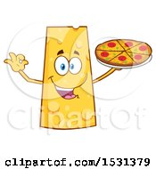 Clipart Of A Cheese Character Mascot Holding A Pizza Royalty Free Vector Illustration