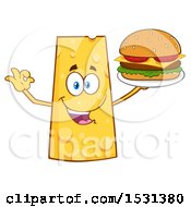Clipart Of A Cheese Character Mascot Holding A Burger Royalty Free Vector Illustration