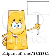 Clipart Of A Cheese Character Mascot Holding Up A Blank Sign Royalty Free Vector Illustration