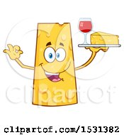 Cheese Character Mascot Holding A Tray With Wine And A Wedge