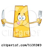Clipart Of A Cheese Character Mascot Holding A Fork And Knife Royalty Free Vector Illustration