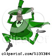 Clipart Of A Cartoon Chubby Black St Patricks Day Leprechaun Holding His Hat And Running Royalty Free Vector Illustration