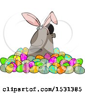 Clipart Of A Grumpy Black Man Wearing Bunny Ears And Popping Out Of A Pile Of Decorated Easter Eggs Royalty Free Vector Illustration