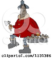 Clipart Of A Chubby Black Man In A Winter Coat And Hat Walking And Carrying Firewood And An Axe Royalty Free Vector Illustration