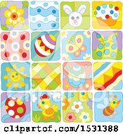 Clipart Of Easter And Spring Themed Tiles Royalty Free Vector Illustration