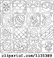 Clipart Of Black And White Easter And Spring Themed Tiles Royalty Free Vector Illustration