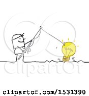 Clipart Of A Stick Man Reeling In A Light Bulb With A Fishing Pole Royalty Free Vector Illustration