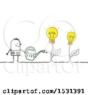 Poster, Art Print Of Stick Man Watering Idea Light Bulb Plants