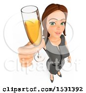 Poster, Art Print Of 3d White Business Woman Holding Up A Glass Of Champagne On A White Background