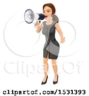 Clipart Of A 3d White Business Woman Using A Megaphone On A White Background Royalty Free Illustration