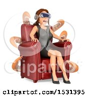 Clipart Of A 3d White Business Woman In A Chair Surrounded By Tentacles And Watching A Movie With Virtual Reality Glasses On A White Background Royalty Free Illustration